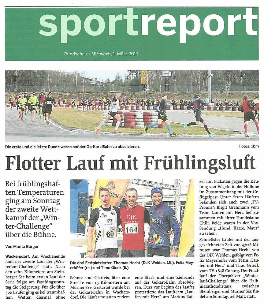 Flotter Lauf mit Frühlingsluft - Sportreport Rundschau 01.03.2017 - www.mittelbayerische.de
