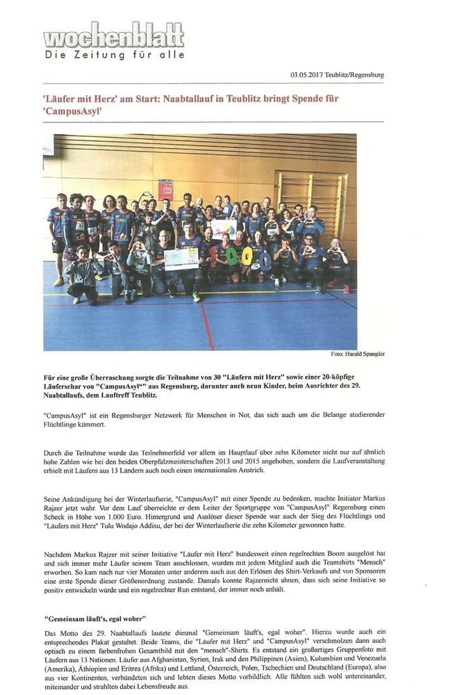 Läufer mit Herz am Start Naabtallauf in Teublitz bringt Spende für Campus Asyl in Regensburg (Quelle: Wochenblatt Schwandorf / 03.05.2017)