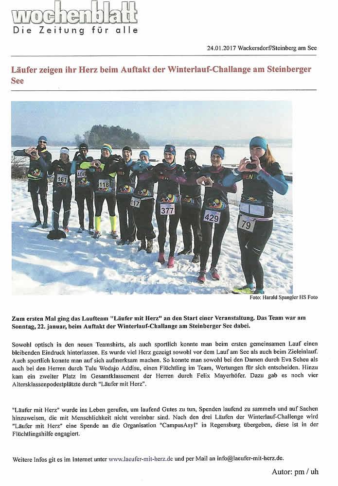 Läufer zeigen ihr Herz beim Auftakt der Winterlauf-Challenge am Steinberger See - Wochenblatt, 24.01.2017 - www.wochenblatt.de