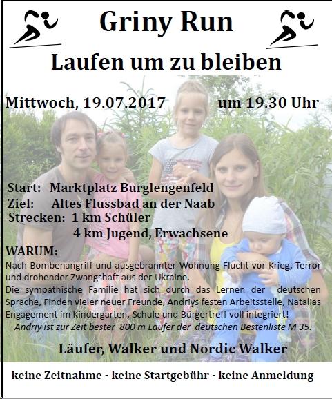 Läufer, Walker und Nordic Walker sind willkommen beim Griny Run am Mittwoch, den 19.07.2017 um 19:30 Uhr. Start: Marktplatz Burglengenfeld